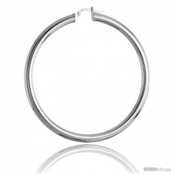 Sterling Silver Italian 4mm Tube Hoop Earrings, 2 3/8 in (60 mm)