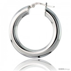 Sterling Silver Italian 5mm Tube Hoop Earrings, 1 1/4 in (30 mm)