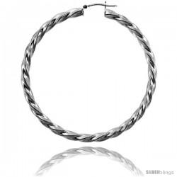 Sterling Silver Italian 4mm Twisted Tube Hoop Earrings, 2 3/8 in (60 mm)