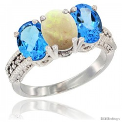14K White Gold Natural Opal & Swiss Blue Topaz Sides Ring 3-Stone 7x5 mm Oval Diamond Accent
