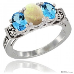 14K White Gold Natural Opal & Swiss Blue Topaz Ring 3-Stone Oval with Diamond Accent