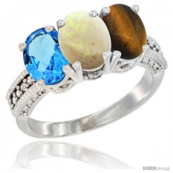 14K White Gold Natural Swiss Blue Topaz, Opal & Tiger Eye Ring 3-Stone 7x5 mm Oval Diamond Accent