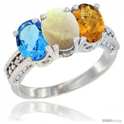 14K White Gold Natural Swiss Blue Topaz, Opal & Whisky Quartz Ring 3-Stone 7x5 mm Oval Diamond Accent