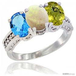 14K White Gold Natural Swiss Blue Topaz, Opal & Lemon Quartz Ring 3-Stone 7x5 mm Oval Diamond Accent