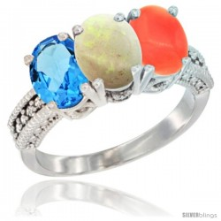 14K White Gold Natural Swiss Blue Topaz, Opal & Coral Ring 3-Stone 7x5 mm Oval Diamond Accent