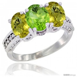 10K White Gold Natural Peridot & Lemon Quartz Sides Ring 3-Stone Oval 7x5 mm Diamond Accent