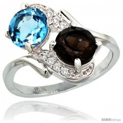 14k White Gold ( 7 mm ) Double Stone Engagement Swiss Blue & Smoky Topaz Ring w/ 0.05 Carat Brilliant Cut Diamonds & 2.34