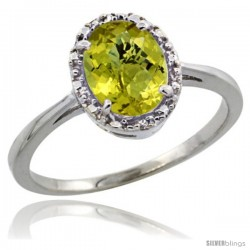 10k White Gold Diamond Halo Lemon Quartz Ring 1.2 ct Oval Stone 8x6 mm, 1/2 in wide