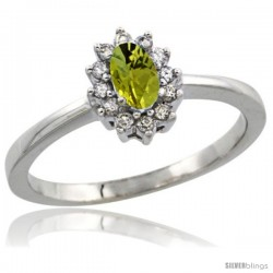 10k White Gold Diamond Halo Lemon Quartz Ring 0.25 ct Oval Stone 5x3 mm, 5/16 in wide