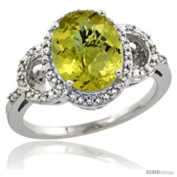 10k White Gold Diamond Halo Lemon Quartz Ring 2.4 ct Oval Stone 10x8 mm, 1/2 in wide