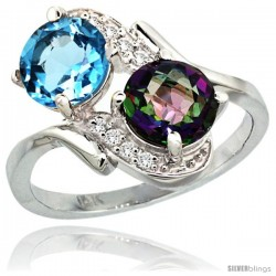 14k White Gold ( 7 mm ) Double Stone Engagement Swiss Blue & Mystic Topaz Ring w/ 0.05 Carat Brilliant Cut Diamonds & 2.34