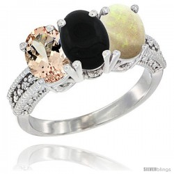 14K White Gold Natural Morganite, Black Onyx & Opal Ring 3-Stone Oval 7x5 mm Diamond Accent