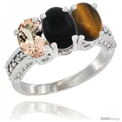 14K White Gold Natural Morganite, Black Onyx & Tiger Eye Ring 3-Stone Oval 7x5 mm Diamond Accent