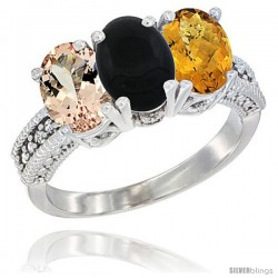 14K White Gold Natural Morganite, Black Onyx & Whisky Quartz Ring 3-Stone Oval 7x5 mm Diamond Accent