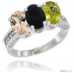 14K White Gold Natural Morganite, Black Onyx & Lemon Quartz Ring 3-Stone Oval 7x5 mm Diamond Accent