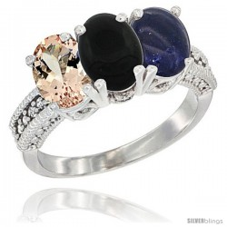 14K White Gold Natural Morganite, Black Onyx & Lapis Ring 3-Stone Oval 7x5 mm Diamond Accent