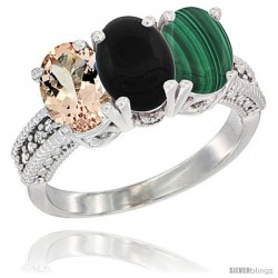 14K White Gold Natural Morganite, Black Onyx & Malachite Ring 3-Stone Oval 7x5 mm Diamond Accent