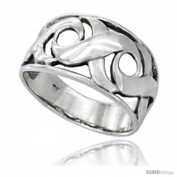 Sterling Silver Swirl Wedding Band Ring 1/2 in wide