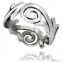 Sterling Silver Swirl Wedding Band Ring 3/8 wide