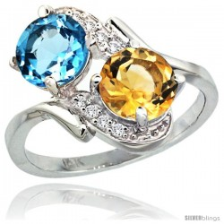 14k White Gold ( 7 mm ) Double Stone Engagement Swiss Blue Topaz & Citrine Ring w/ 0.05 Carat Brilliant Cut Diamonds & 2.34