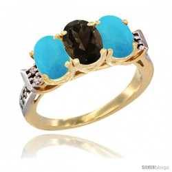 10K Yellow Gold Natural Smoky Topaz & Turquoise Sides Ring 3-Stone Oval 7x5 mm Diamond Accent