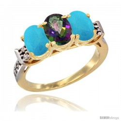 10K Yellow Gold Natural Mystic Topaz & Turquoise Sides Ring 3-Stone Oval 7x5 mm Diamond Accent