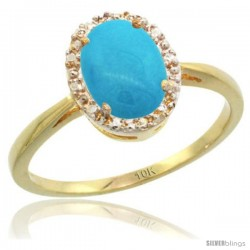 10k Yellow Gold Diamond Sleeping Beauty Turquoise Halo Ring 8X6 mm Oval Shape, 1/2 in wide