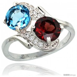 14k White Gold ( 7 mm ) Double Stone Engagement Swiss Blue Topaz & Garnet Ring w/ 0.05 Carat Brilliant Cut Diamonds & 2.34