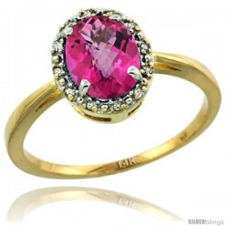 14k Yellow Gold Diamond Halo Pink Topaz Ring 1.2 ct Oval Stone 8x6 mm, 1/2 in wide