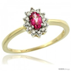 14k Yellow Gold Diamond Halo Pink Topaz Ring 0.25 ct Oval Stone 5x3 mm, 5/16 in wide