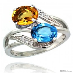 14k White Gold ( 8x6 mm ) Double Stone Engagement Swiss Blue Topaz & Citrine Ring w/ 0.07 Carat Brilliant Cut Diamonds & 2.34