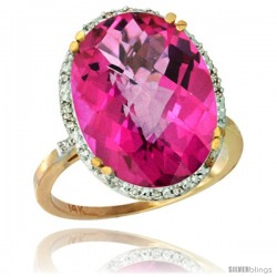 14k Yellow Gold Diamond Halo Large Pink Topaz Ring 10.3 ct Oval Stone 18x13 mm, 3/4 in wide
