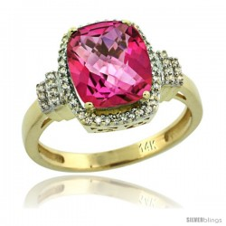 14k Yellow Gold Diamond Halo Pink Topaz Ring 2.4 ct Cushion Cut 9x7 mm, 1/2 in wide