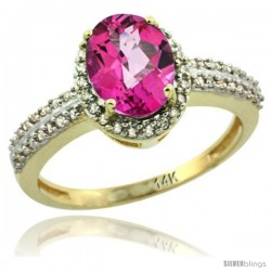 14k Yellow Gold Diamond Halo Pink Topaz Ring 1.2 ct Oval Stone 8x6 mm, 3/8 in wide