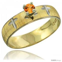 10k Gold Ladies' Solitaire 0.25 Carat Orange Sapphire Engagement Ring Diamond-cut Pattern Rhodium Accent, 3/16 -Style 10y508er