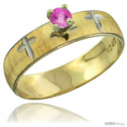 10k Gold Ladies' Solitaire 0.25 Carat Pink Sapphire Engagement Ring Diamond-cut Pattern Rhodium Accent, 3/16 -Style 10y508er