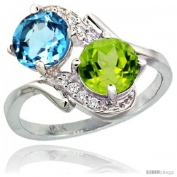 14k White Gold ( 7 mm ) Double Stone Engagement Swiss Blue Topaz & Peridot Ring w/ 0.05 Carat Brilliant Cut Diamonds & 2.34