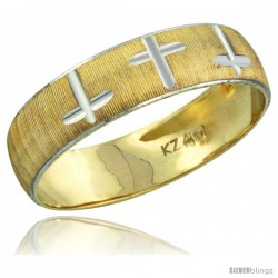 10k Gold Men's Wedding Band Ring Diamond-cut Pattern Rhodium Accent, 7/32 in. (5.5mm) wide -Style 10y508mb
