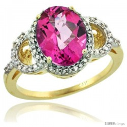 14k Yellow Gold Diamond Halo Pink Topaz Ring 2.4 ct Oval Stone 10x8 mm, 1/2 in wide