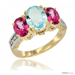 14K Yellow Gold Ladies 3-Stone Oval Natural Aquamarine Ring with Pink Topaz Sides Diamond Accent
