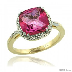 14k Yellow Gold Diamond Pink Topaz Ring 3.05 ct Cushion Cut 9x9 mm, 1/2 in wide