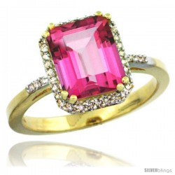 14k Yellow Gold Diamond Pink Topaz Ring 2.53 ct Emerald Shape 9x7 mm, 1/2 in wide