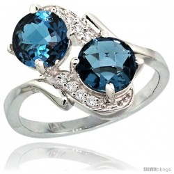 14k White Gold ( 7 mm ) Double Stone Engagement London Blue Topaz Ring w/ 0.05 Carat Brilliant Cut Diamonds & 2.34 Carats Round