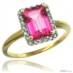 14k Yellow Gold Diamond Pink Topaz Ring 1.6 ct Emerald Shape 8x6 mm, 1/2 in wide