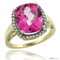 14k Yellow Gold Diamond Pink Topaz Ring 5.17 ct Checkerboard Cut Cushion 12x10 mm, 1/2 in wide