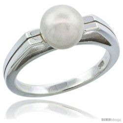 Sterling Silver Grooved Pearl Ring 1/8 in. (3 mm) wide