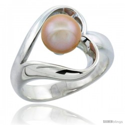 Sterling Silver Fancy Heart Cut Out Pearl Ring 19/32 in. (15 mm) wide
