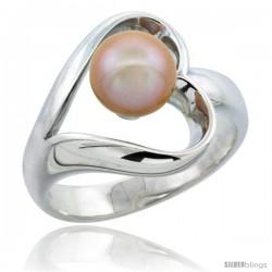 Sterling Silver Fancy Heart Cut Out Pearl Ring 19/32 in. (15 mm) wide