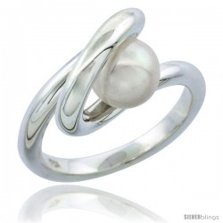 Sterling Silver Fancy Spiral Pearl Ring 3/8 in. (10 mm) wide