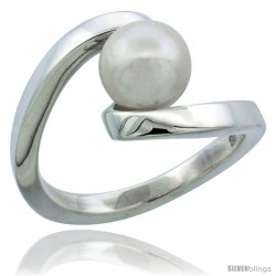 Sterling Silver Fancy Swirl Pearl Ring 7/16 in. (11.5 mm) wide